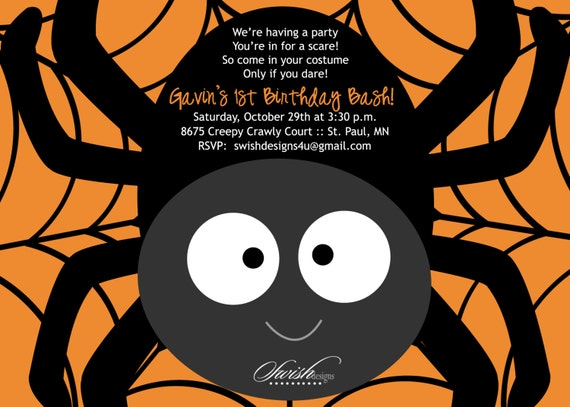 SALE Halloween Birthday Party Invitation Cute Spider First - Halloween birthday invitations party