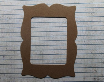 3 Bare chipboard bracket style Rectangle Frame Die cuts 3 3/4 inches w x 4 5/8 inches high