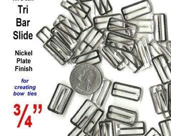 100 Pieces - BOW TIE Slide Adjuster - Flat Black Metal or Nickel Plate - 3/4 inch - Raised Center Bar