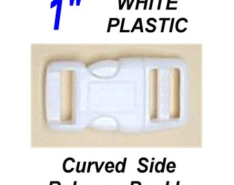 """10 Buckles - 1"""" - WHITE CURVED SIDE Release, 1 Inch , Dog Collar Adjustable Strap, Plastic 25.4mm"""