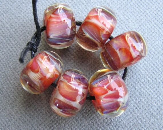 Boro Beads - Handmade Lampwork Beads - Warm Pink and Orange Tones