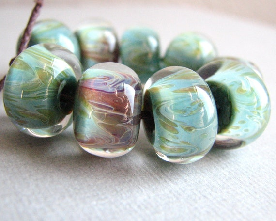 Boro Glass Lampwork Beads - Borosilicate - Turquoise Green with Purple
