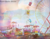 Believe, A Midsummer Night's Dream, Cotton Candy Lights, Retro Pink,Yellow,Blue By Paper-Mâché Dream Photography, fPOE