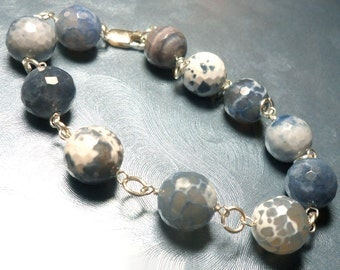 Blue Agate Stone Bead and Link Bracelet