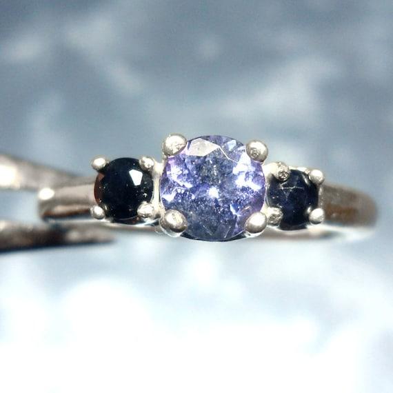 Tanzanite Sapphire Silver Ring