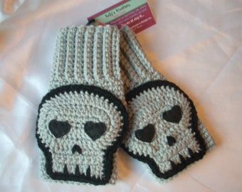 Gray Skull Mittens Crochet Fingerless Texting Gloves grey mitts wristers wrist warmers arm warmer fingerless wristers mitten Ready To Ship