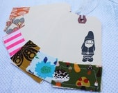 Stamped and stitched gnome tags