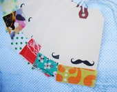 Stamped and stitched mustache tags