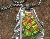 Amazing Opalized Fossil-Ammolite Handmade Necklace