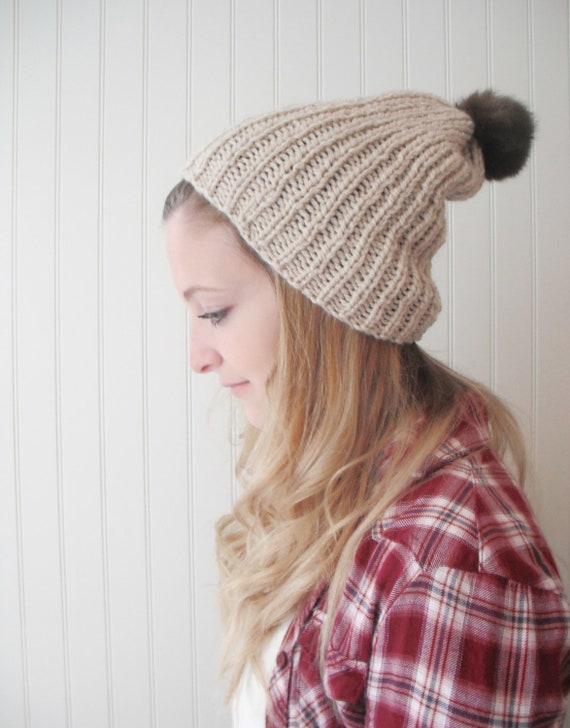 Oatmeal slouchy hat - real fur pompom