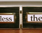 Set of 4 Distressed Blocks with Label Holders - Table Markers, Place Holders, etc. - Easter