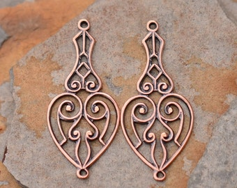 2 Antique Copper Naomi Scroll Drops - Connector 13.5 x 31mm  -  Trinity Brass Low Shipping