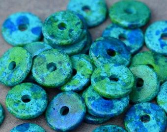 10 Mykonos Greek Ceramic Aegean 13mm Round Disk Beads