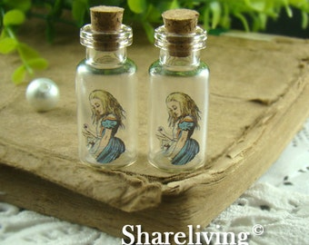 4pcs 35x16mm Handmade Clear Glass Photo Wishing Bottle Vials Pendants (Alice in wonderland) --  HC108A