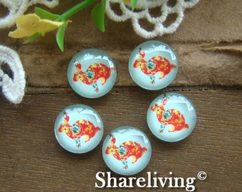 10pcs 12mm Handmade Photo Glass Cabochons ( Rabbit  )  -- BCH160G