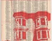 San Francisco - Dark City no7 - 11 x 14 Book Page Print - Haight Ashbury