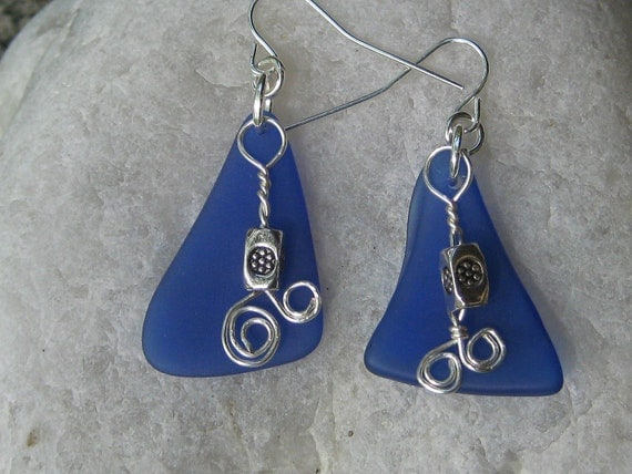 Beachglass inspired earrings cobalt blue antique glass wire wrapped