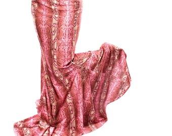 Snake Charmer Mermaid Skirt curvy long shapely style. Belly Dance Costume flare, Pink Snake Print