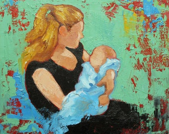 Commission your own Mother and Child custom portrait oil painting by Roz