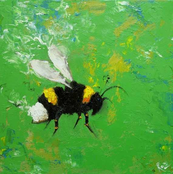 Bee painting 247 12x12 inch original insect portrait oil painting by Roz