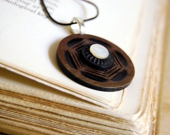 Geometric Vintage Button Necklace Celluloid Pendant Aubergine Eggplant Brown Eco Friendly Jewelry Women Recycled Accessories Mother of Pearl