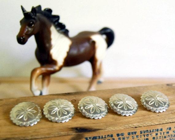 Vintage Buttons Concho Silver Metal Southwestern Cowboy Stamped Metal Set