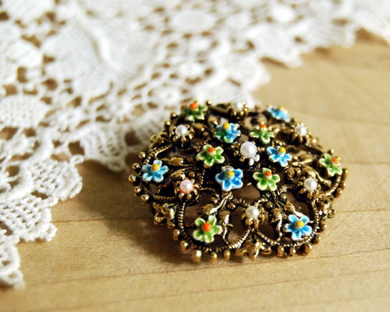 Vintage ART Brooch Enamel Flowers and Faux Pearl Signed Costume Jewelry