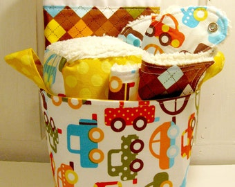 Ready Set Go Cars Baby Boy Gift Basket--- Burp Cloth, Bib, Rattle Block, Wash Cloth Set and Fabric Basket