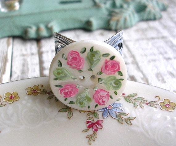 Vintage Mother of Pearl Button Ring Hand Painted Shabby Chic Light Green Pink Roses Washed Blue Floral
