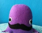 Purple Mr. Mustachio: Felt Plushie