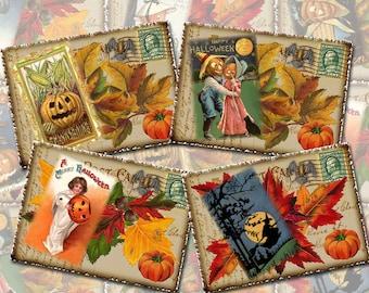 Halloween Post Cards-Vintage ArT Tags/Cards/Labels-INSTaNT DOWNLoAD- Printable Collage Sheet Download JPG Digital File- New Lower Price