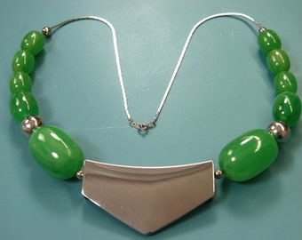 Unique one-of-a-kind silvercolor metal chain necklace with 7 grass green tested vintage 1940s bakelite beads