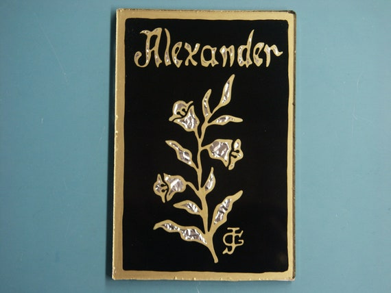 Namepicture único uno-de-a-kind pintadas a mano con nombre de Alexander en la antigua tradición sueca hizo en EGLOMISE - técnica