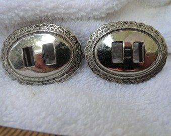 2 Vintage Silver Tone Buckles, Nice Edge Design, 1 7/8 x 1 3/8 Inches, 2 Holes for Adorning