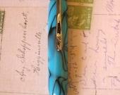 FREE SHIPPING Hand Turned Polaris Turquoise Black Swirl Acrylic Twist Pen