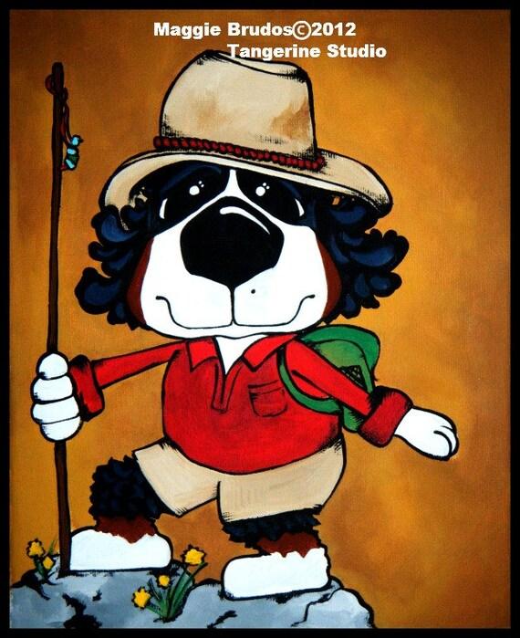 Bernese Mountain dog Hiking Whimsical ART Dog  Original Maggie Brudos canvas 8x10 Tangerine Studio