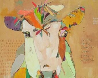 Mom Cow paper print by Jennifer Mercede 14x11