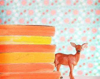 CLEARANCE Deer Photography, Cute Childrens Room Decor, Aqua Blue, Peach Wall Art, Nursery Decor  - 8x8 inch Print - The Littlest Deer