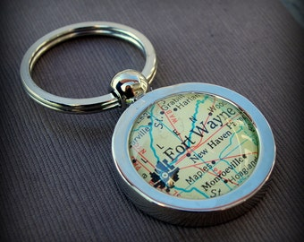 Custom Map Keychain - You Pick City - Personalized Key Chain - Vintage Map - Housewarming Gift - Groomsman Gift - Map Key Chain
