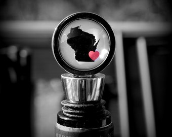 Wisconsin Love - Wine Bottle Stopper - Perfect Hostess Gift