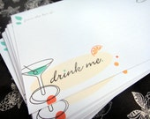 Drink Me - recipe card set of 12 (lined front and back)
