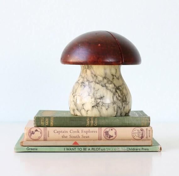 Vintage Alabaster Mushroom Bookends