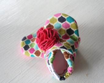 Baby Girl Shoes Booties Newborn Girl Slippers soft soled non slip gift SWAG Moroccan pink green aqua blue Flower