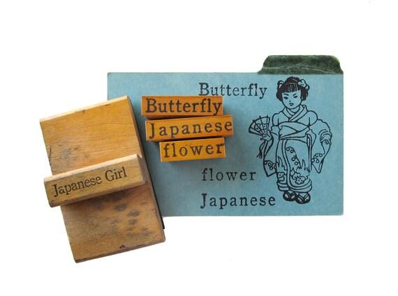RESERVED for Laurel - Vintage JAPANESE GIRL Rubber Stamps - Set of 4
