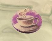 Hot Cup of Coffee Tea Chocolate Resin Pendant