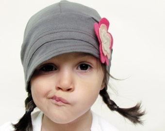 Girls grey hat , girls hats lightweight ,fashion children hat, kids flapper, stylish handmade hat cozy cap cotton handmade hat
