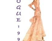 Vintage Sewing Pattern Vogue 1995 Paris Original Yves Saint Laurent Evening Dress Size 6-8-10 Bust 30-32.5 inches Complete