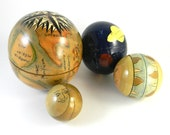 Vintage 4 Piece Wooden Nesting Globe Collectible Hand Painted, world, solar system, sun and moon - FeliceSereno