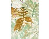 Fern Art, Nature Photography, Gold Green Wall Decor, Woodland Decor, Fern Print, Cottage Decor