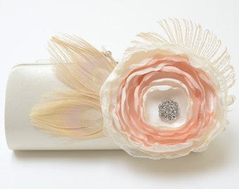 Ivory Bridal Clutch with Feathers - Bridesmaid Clutch Bleached Ivory Peacock Feather Clutch Rhinstones - Champagne & Ivory Flower Clutch